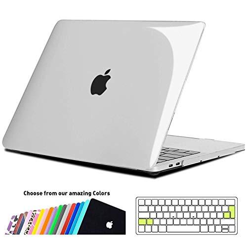 iNeseon Funda MacBook Pro 15 2017/2018,Delgado Dura Shell Case y Cubierta del Teclado Transparente EU Layout para Apple MacBook Pro 15 Pulgada Touch Bar (A1707/A1990),Cristal Transparente
