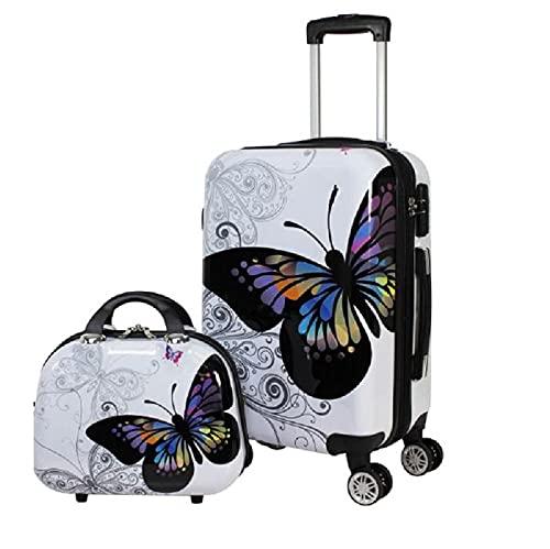 Maleta y Neceser Mariposas en Color Blanco (Mediana)