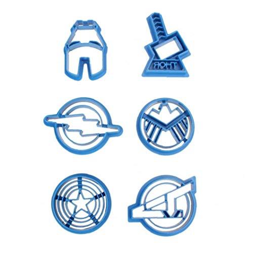 6pcs Onsinic/set de moldes de corte superhéroe de la serie The Avengers Alliance galleta de azúcar del cortador de las hileras de accesorios de cocina