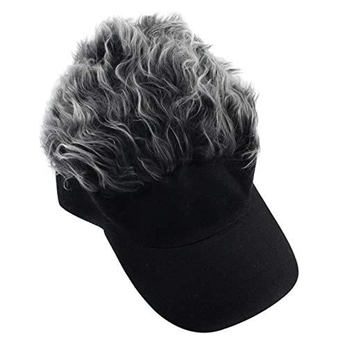 Unisex Divertido Gorra de béisbol Peluca Gorra Visera diversión Sombrero de Peluca para Hombres y Mujeres Sombrero de Peluca de Pelo