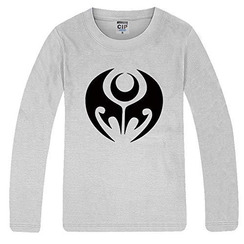 Hkjrerilo Kamen Rider T-Shirt Camicia a Maniche Lunghe con Top Casual Versatile di Base Pullover (Color : Grey, Size : L)