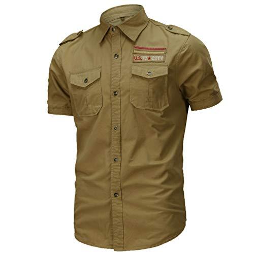 7 camicie uomo Xmiral Camicia a Maniche Corte da Uomo Casual Vari Colori Militare Allentata Magliette Larghe (L