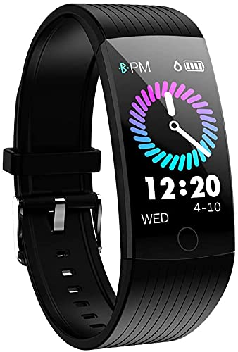 Fitness Tracker, Activity Tracker Watch with Heart Rate Monitor, IP67 Waterproof Smart Watch with Sleep Monitor,1.14 inch Colorful Screen Smart Bracelet for Men and Women (Black) (Black)
