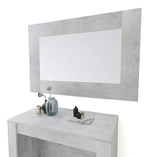 Specchio Rettangolare Con Cornice in Legno da Parate , Tilcara L, Arredo Casa Salotto Soggiorno Ingresso Ufficio Studio, Design Moderno Elegante Minimal 73 x 118 x 2 cm (Grigio Cemento)