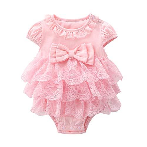 LUOEM Baby Meisjes Kant Korte mouw Onesies Bodysuit Baby Katoen Jumpsuits