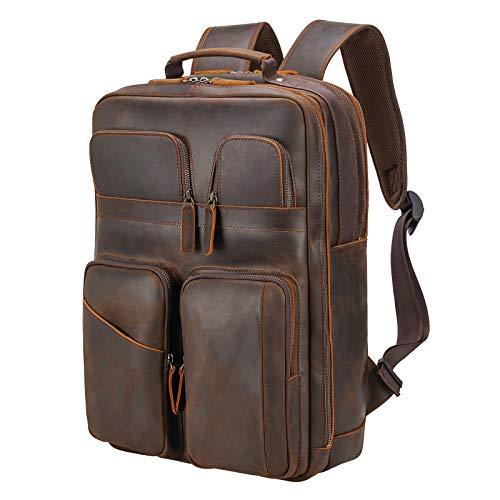 Polare 17.3 Inch Full Grain Leather Backpack for Men Multi Pockets Business Travel DayPack Rucksack