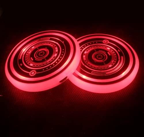 Luce LED per portabicchieri per auto, 2 pezzi Sottobicchieri LED per auto con 7 colori luminescenti pad per tazza di luce, per accessori per sottobicchieri Decorazione d'interni Atmosphere Light (G)