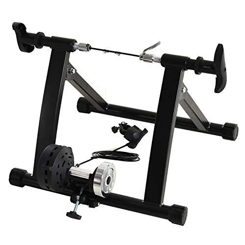HOMCOM Rollos/Entrenamiento de Bicicleta estática con Freno magnético, Negro, 5661–0060