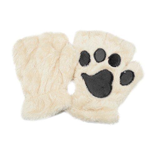 guanti gatto TinkSky Inverno Donne Carino Gatto Claw Dog Paw Peluche Mittens Guanti Fingerless Guanti Half Gloves Regalo di Natale (Beige)
