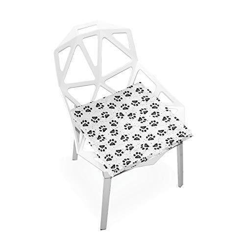 Cojín de espuma viscoelástica para sillas de cocina, suave, lavable, antipolvo, silla de comedor, almohadilla de 40,6 x 40,6 cm (huellas de perro) 2030263