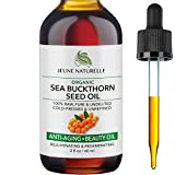 Sea Buckthorn Oil Organic - 100% Pure RAW Cold Pressed Undiluted Sea Buckthorn Seed Oil - For Acne Eczema Wrinkle Repair Dark Spots Scars Rosacea - Anti Aging Beauty Oil, 2oz