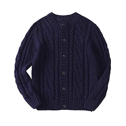 taitaibaby Little Boys Girls Winter Knit Cardigan Sweater Kids Long Sleeve Warm Sweaters Jacket Coat (Navy, 5T)