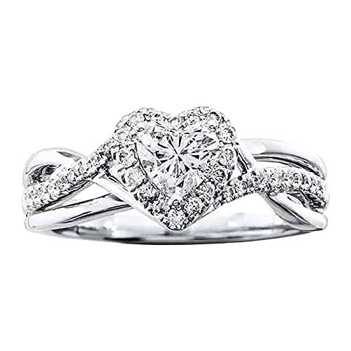 Younoo1 - Anillo de circonita con diamantes de amor de cruz, anillo de compromiso, anillo de boda, compromiso, regalo de cumpleaños
