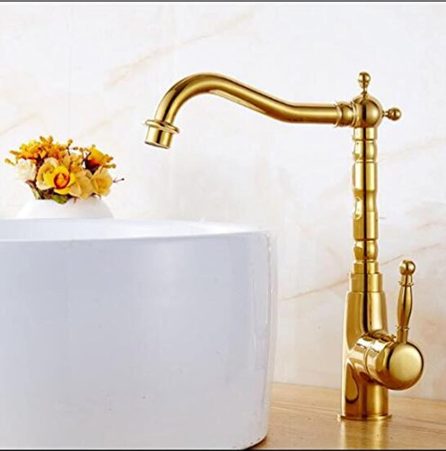 Makej Fashion Brass Kitchen Faucet Hot and Cold Single Lever Kitchen Sink Faucet Tap gold Swivel Bathroom Sink Faucet Sink Tap