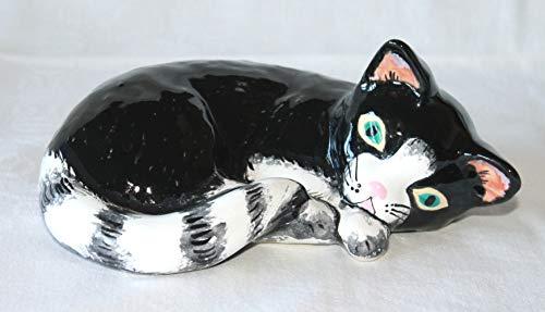 Kätzchen Katze klein, Keramikkatze Figur Handarbeit handbemalt Deko