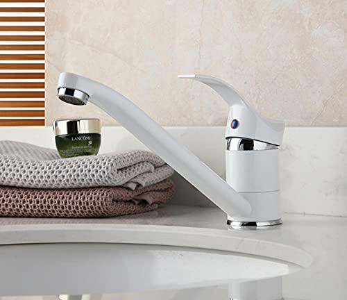 Alargar el grifo del caño Mezclador de pintura blanca de una manija Grifo caliente y frío Grifo de lavabo de latón macizo Grifo de baño cromado
