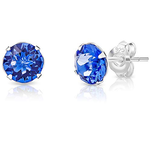 DTPSilver - 925 Sterling Silver Round Stud Earrings made with Glittering Crystals from Swarovski Elements - Diameter: 6 mm - Colour : Blue Sapphire