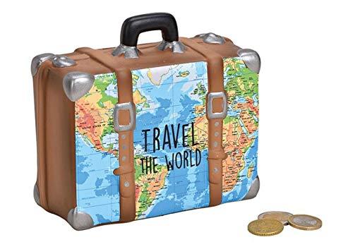 MC Trend Spaarpot reiskas Travel The World vakantie wereldreis droomreis spaarboek reis geld cadeau-idee wensen Koffer landkaart blauw/bruin