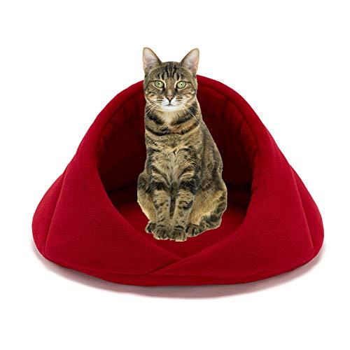 ppactvo Cueva Gato Cama Mascota con CáLida Tienda De Felpa De Felpa Antideslizante Cama Lavable ExtraíBle para Gato Red,S