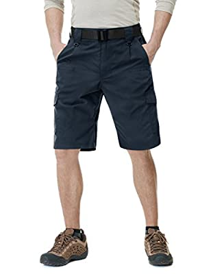 CQR Mens Hiking Tactical Shorts, Quick Dry Fishing Shorts, Lightweight Outdoor Rip-Stop EDC Assault Cargo Short, Tactical Shorts(tsp203) - Navy, 32