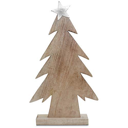 Deko-Baum Tannenbaum mit Stern Holzbaum Naturholz braun Silber Weihnachtsdekoration Landhaus modern Weihnachten 54 cm