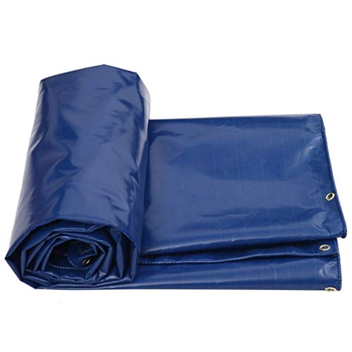 Tarpaulin Outdoor Shade Waterproof Metal Eyelets Tarp Car Boat Roof Rain Cover Camping Trailer Tent - UV Protected,550g/m²,Thickness 0.5mm Blue LIUDINGDING (Color : Blue, Size : 3MX2M)