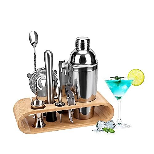 YiShuHua Cocktail Haker de 9 Piezas Set, Adecuado para el Conjunto cócteles la Barra su casa con 750 ml Haker, Copa medición, Pico, émbolo, Cuchara, Pinzas Hielo, sacacorchos (Color : Silver)