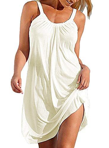 Bluetime Damen-Sommerkleid, ärmellos, plissiert, Strandkleid, Minikleid - Weiß - X-Large
