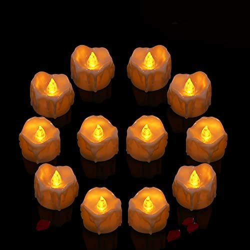 Candele LED, Candele Senza Fiamma a LED 12 pcs, Candele elettrica a Batteria, Candele Finte Fiamma Oscillante per Decorazione per Albero di Natale Pasqua Festa di Matrimonio - lumini led Bianco
