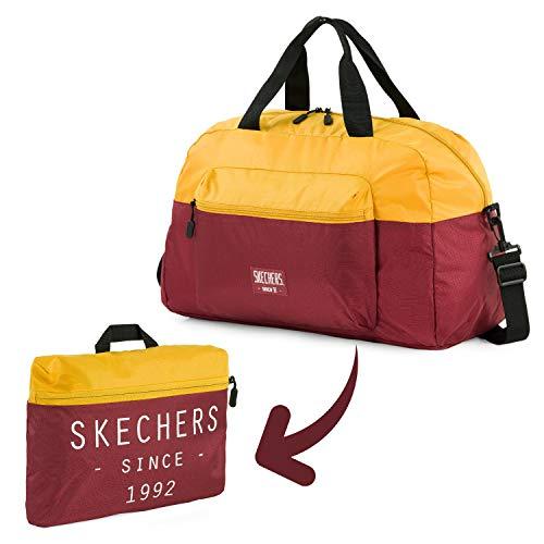 SKECHERS - Falttasche mit Fronttasche perfekt für Fitness-Studio oder Schule. Oberer Griff und Verstellbarer Schultergurt S982, Color Altgold
