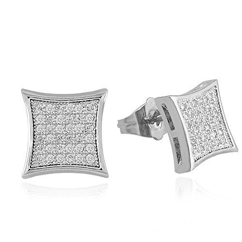 LuReen Mens Earring Silver 11mm Square CZ Stud Earring for Men Boys