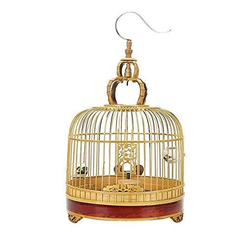 NYKK Jaula para Pájaro Jaula de pájaros Redonda Gancho de Acero Inoxidable Jaula de pájaros de diseño de Estilo Chino al Aire Libre Retro Villa Pajarera
