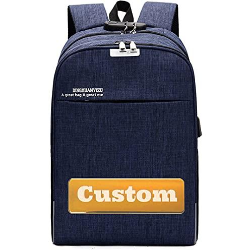Claiyi Nome personalizzato Impermeabile 15.6 Zaino per laptop per le donne Viaggi Donne Best Laptop Zaino per la scuola (Color : Blue, Size : One size)