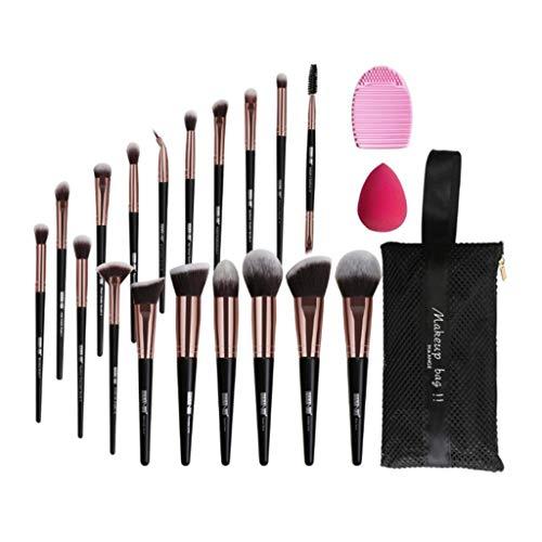 MERIGLARE 18Pcs Pinceaux De Maquillage Doux Fondation Pinceaux à Poudre Set + Bag Puff - Noir doré