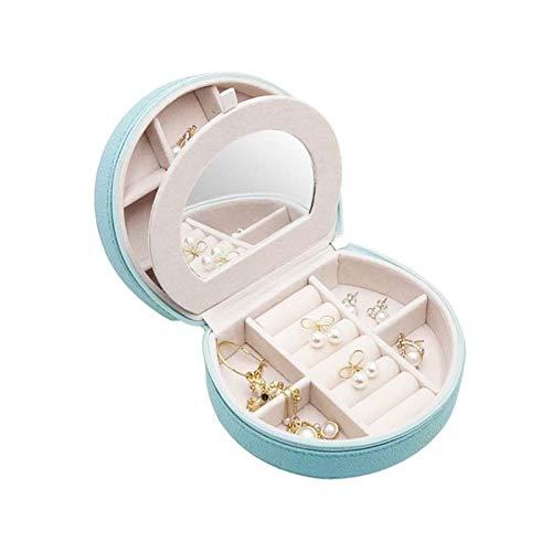 XINGFUQY Doppelschicht Tragbare Reise Schmuck Makeup Box PU Leder Display Organizer Aufbewahrungskoffer Für Ohrringe Halskette Ringe (Color : Blue)