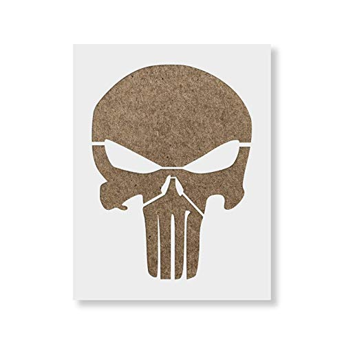 Punisher Skull Stencil - Reusable Stencils for Painting - Create DIY Punisher Skull Crafts and Projects