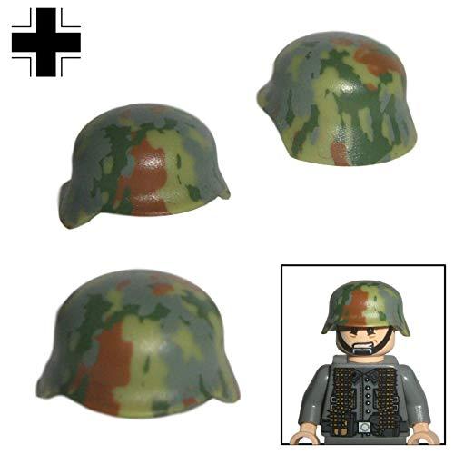 Custom Brick Design 3X M35 Stahlhelm Camo Design V.2 Mediterran/Sumpf des DR im WW2 - Soldaten Waffe | Zubehör für Lego Figuren