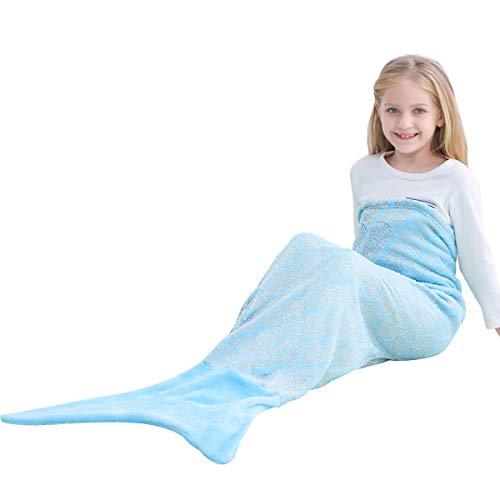 VHOME Kinder Meerjungfrau Decke Geschenke Beste - Warmes Wohnzimmer Sofa Decke Schlafsack Spielzeug Jugend Für Weihnachts Geburtstagsgeschenk (V8-Gold blau, Kinder 145cm x 60cm)