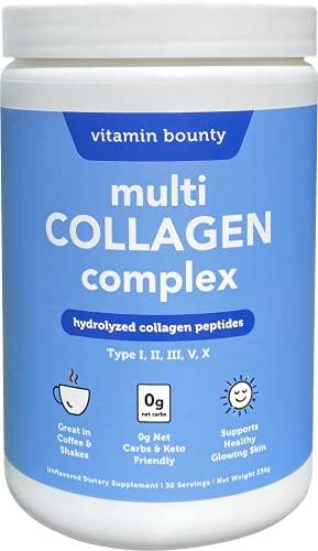 Multi Collagen Powder - Ultra Pure Hydrolyzed Collagen Peptides - Type I,II,III,V & X - 0g net Carbs, Vitamin Bounty