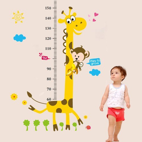 RedColorful zehui Carte de Croissance pour Enfants Motif Girafe et Singe