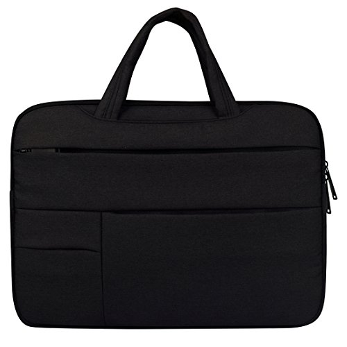 subtel Laptoptasche für Dell Chromebook/Inspiron 13 / XPS 13 13,3 Zoll & Kleiner, schwarz, mit Tragegriffen, Zusatzfächern, Smartphone-Tasche, aus Polyester, Notebooktasche, Laptophülle, Sleeve