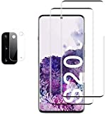 2 Pack Galaxy S20 Screen Protector + 1 Pack Camera Lens Protector Tempered Glass, [Full Coverage] [Ultrasonic Fingerprint Compatible] [3D Curved] Screen Protector for Samsung Galaxy S20 5G 6.2
