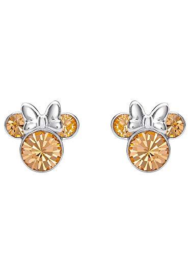 Disney Women's Jewelry Minnie Mouse Silver Plated Brass June Birthstone Stud Earrings