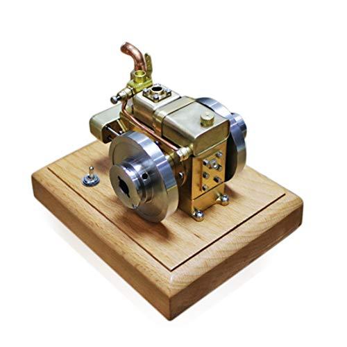 Deguojilvxingshe - Mini motor de gasolina refrigerado por agua de 2,6 cm, 3 piezas, con base de madera, motor de gasolina refrigerado por agua, regalo para la creatividad científica para adultos