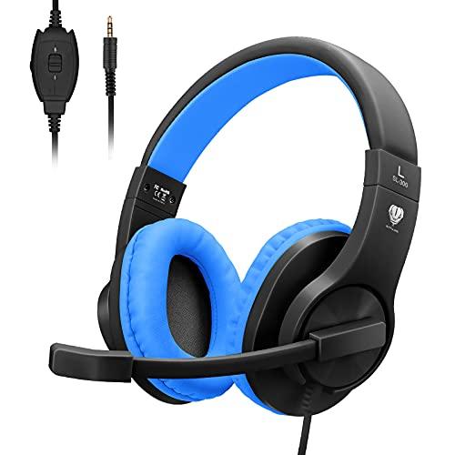 TR Turn Raise Cuffie Gaming PS4, Wired Cuffie da Gaming con Microfono per PC, Xbox One, Playstation 4 (Blu)
