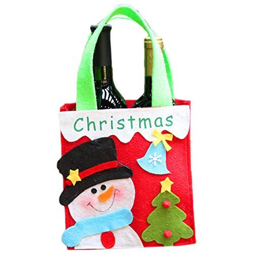 unknow Huaicheng 1 Stück Weihnachtsfeier Tasche Santa Claus Schneemann Tote Treat Tasche mit Griffen für Partybevorzugungen,Farbe Schneemann