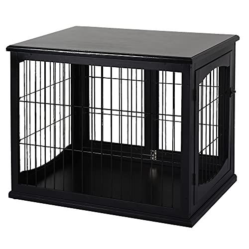 Pawhut Cage pour Chien Animaux Cage en Bois MDF Classe E1 3 Portes verrouillables Max. 30 Kg dim. 81L x 58l x 66H cm Noir