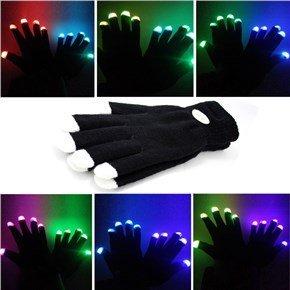 guanti led Guanti Lampeggianti Glow 7 Mode LED Rave Light Finger Lighting Mitt Nero - Taglie per Bambini