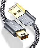 JSAUX Cavo Mini USB [2Pezzi, 1M+2M], Cavo di Ricarica Dati in Nylon da USB 2.0 Tipo A a Mini B per Fotocamera Digitale, Hero 3/4, Hero HD, Controller PS3, Lettore MP3, Dash Cam, Ricevitore GPS-Grigro