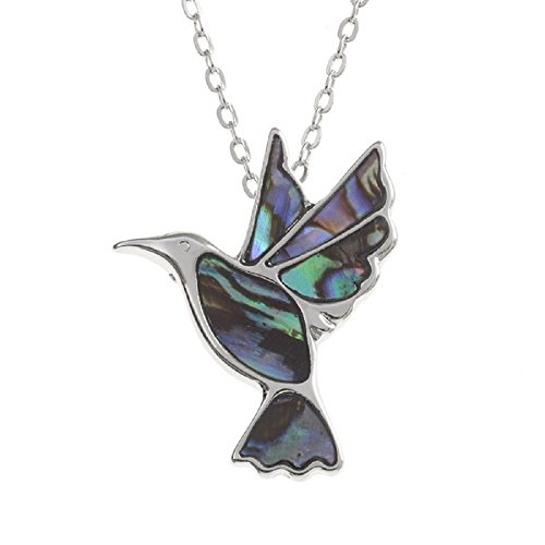 Mirabella BellaMira Abalone Hummingbird Silver Plated Necklace & Earrings Jewellery Set (as Chosen) Inlaid with Natural Paua Shell in Elegant Gift Box (Necklace-)